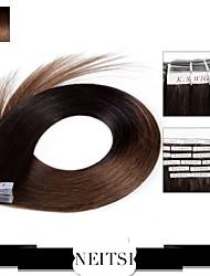 "neitsi 20 ""cinta de 20pcs 50g de pelo humano extensiones de cabello trama de la piel de la PU t2-8 recta"