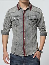 Men's Long Sleeve Denim Shirts , Cotton Casual