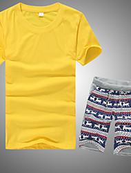 Herren T-shirt-Einfarbig Freizeit Baumwolle Kurz-Schwarz / Blau / Grün / Orange / Rot / Weiß / Gelb / Grau