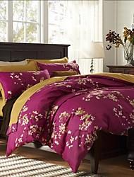 rouge élégant ensemble de literie floral de 4pcs tissu épais de ponçage pour l'automne&saisons d'hiver utilisation
