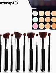 10PCS Silver Black Handle Cosmetic Makeup Brush Set&15 Colors Camouflage Natural Concealer/Foundation/Bronzer