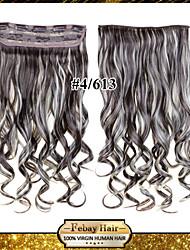 24inch 60cm de couleur 120g 4/613 # clip sur les extensions de cheveux ondulés clip sur postiches