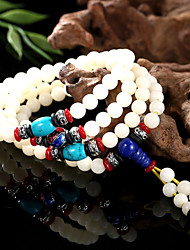 Color White Bodhi Root Bead Bracelet