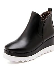 Zapatos de mujer Semicuero Tacón Cuña Punta Redonda Botas Casual Negro/Blanco/Bermellón