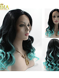 Tyra Banks' Lace Front Wig Ombre Natural Black/Light Blue Two Tone Curly Heat Resistant Hair Wigs New Wig