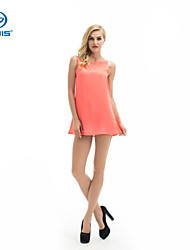 CANIS@Women's Round Neck Sequins Chiffon Above Knee Sleeveless Dress