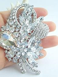 Wedding 3.35 Inch Silver-tone Clear Rhinestone Crystal Flower Brooch Bridal Bouquet
