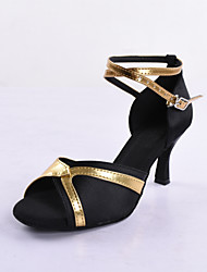 High Quality Satin Upper Ballroom Dance Shoes Latin Shoes for Women Two Colors