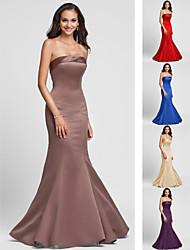 Vestido de Madrinha - Vermelho/Azul Real/Marron/Champanhe/Indigo Sereia Sem Alça Longo Cetim Tamanhos Grandes