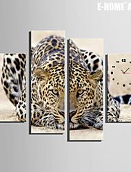 E-HOME® Cheetah Clock in Canvas 4pcs