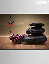 E-HOME® Black Stone Clock in Canvas 1pcs