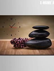 e-FOYER noir horloge de pierre dans 1pcs toile
