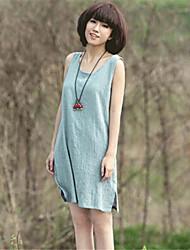 Women's Round Dresses , Cotton Sexy/Casual Sleeveless YaYiGe