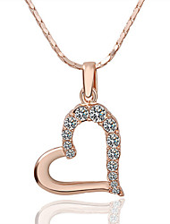 HKTC Elegant Bridal Jewelry 18k Rose Gold Plated Clear Cubic Zirconia Crysatl Heart Pendant Necklace