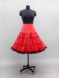 Slips Ball Gown Slip Knee-Length 3 Tulle Netting Polyester Lycra White Black Red Yellow Brown