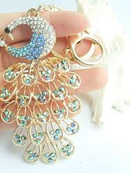 Pretty Bird Peacock Key Chain With Blue & Clear Rhinestone crystals