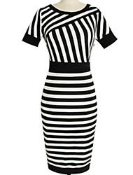 Z.Z.Z    Women's Striped Multi-color Dresses , Bodycon / Casual / Party Round Short Sleeve