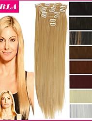 """22 """"/ 55 centímetros 120-130g 7pcs / clipe postiços sintéticas resistente ao calor definido na extensão do cabelo longo reto"""