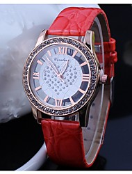 POPO  Ms. Rhinestone pierced simulation Leather Strap Dress Watch
