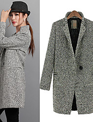 Qina Woman'S British Style Warm Winter Models Thick Wool Coat Long Section