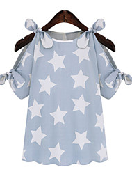 Vestimenta de Dorso y Blusas ( Vaqueros/Seda )- Casual Manga Corta para Mujer
