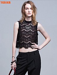 Women's Round Neck Lace/Hollow Out T-shirt , Lace Sleeveless YE8A10