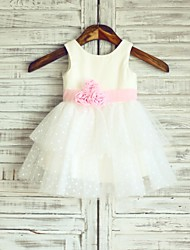 Princess Knee-length Flower Girl Dress - Cotton / Tulle Sleeveless Scoop with