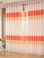 (One Panel) Grommet Top Polyester Printing Modern Colorful Orange Fabric Curtain Drapes