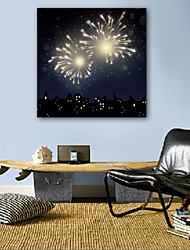 E-HOME® Stretched LED Canvas Print Art Fireworks LED Flashing Optical Fiber Print