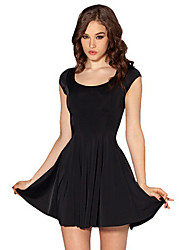Clubwear Dresses Women's Performance Cotton/Polyester Draped 1 Piece Black