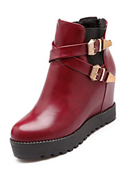 Women's Shoes Flat Heel Fashion Boots/Round Toe/Closed Toe Boots Dress/Casual Black/Red/White