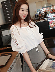 Women's Lace White Blouse , Round Neck ¾ Sleeve Button