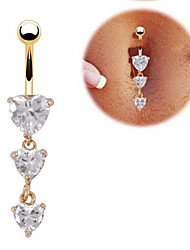 Love Heart Belly Ring Dangle Clear Navel Bar Gold Dangle Body Jewelry Piercing