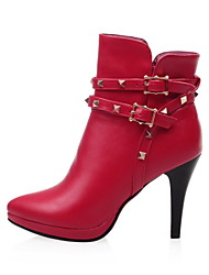 Women's Shoes Stiletto Heel Platform/Fashion Boots/Pointed Toe Boots Dress/Casual Black/Red