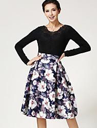Women's Casual/Print Knee-length Skirts , Cotton/Spandex Micro-elastic Purple