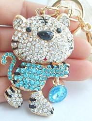 Charming Tiger Key chain With Blue & Clear Rhinestone crystals