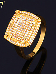 U7® Men's Fashion Statement Ring 18K Real Gold Plated Gold Ring for Men Cubic Zirconia Engagement Ring