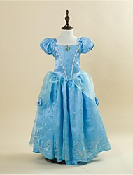 Ball Gown Floor-length Flower Girl Dress - Satin / Taffeta Short Sleeve Square with