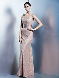 Formal Evening Dress - Brown Sheath/Column Strapless Floor-length Lace
