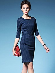 Women's Striped Blue/Black Dress , Vintage/Casual Round Neck ¾ Sleeve