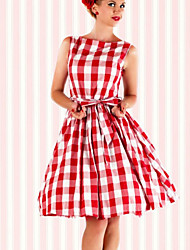50s dell'annata delle donne sottile del vestito da partito altalena vita senza maniche fascio griglia