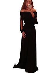 Robe Aux femmes Maxi Manches Longues Bateau Polyester