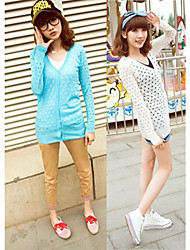 Women's V-Neck Dresses , Knitwear Sexy/Beach/Casual/Cute/Party Long Sleeve Cathy