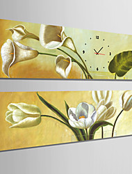 E-HOME® White Flowers Clock in Canvas 2pcs