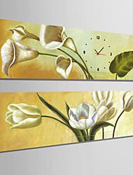 Rectangulaire Rétro Horloge murale , Autres Toile 24x70cm(9inchx28inch)x2pcs/30x90cm(12inchx35inch)x2pcs