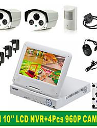 4ch 10 kit combo schermo del monitor a cristalli liquidi nvr pollici '' + 4pcs 960p macchina fotografica + hard disk da 1 TB