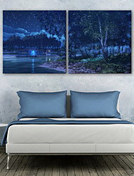 E-HOME® Stretched LED Canvas Print Art The Night in The Forest LED Flashing Optical Fiber Print Set of 2