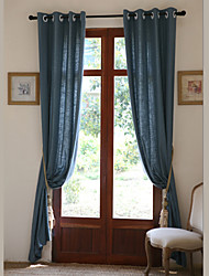 Two Panels Linen Cotton Solid Panel Bedroom Curtains Drapes Blue
