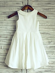 Flower Girl Dress A-line Knee-length - Cotton Sleeveless Jewel with