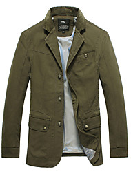2015 Brand New Men Jackets Turn Down Asian Size Solid Army Green Color Fashion Men Clothing 112 7718 SP001592